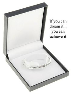 "A beautiful silver plated quote bangle ""If you can dream it ...you can achieve it"" A perfect gift for anyone taking exams or starting a new venture. £12.00"