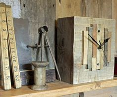 Salvaged Wooden Mantel Clock With Letterpress Printing Offcuts