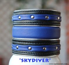Cobalt Blue and Black Leather Cuff, Wristband with Chrome Studs, Statement Bracelet, Unisex Bracelet with Stripes, Custom Leather Wristband