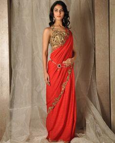 NIce gold sari blouse and waist belt