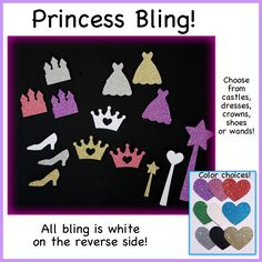 A personal favorite from my Etsy shop https://www.etsy.com/listing/184997909/bling-princess-shoe-crown-wand-castle