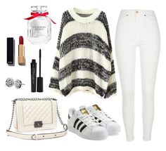 """"""""""" by aniyahg ❤ liked on Polyvore featuring Relaxfeel, River Island, adidas Originals, Chanel, Smashbox, Victoria's Secret, Chamilia, women's clothing, women and female"""