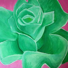 Green rose with a pink background? Art Flowers, Flower Art, Rose Art, Green Rose, Amazing Art, Abstract Art, Painting, Ideas, Pink Art