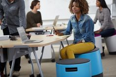 Height-adjustable and designed to promote movement in the workplace, Turnstone's Buoy's curved base engages your core as you tilt, wobble and spin.