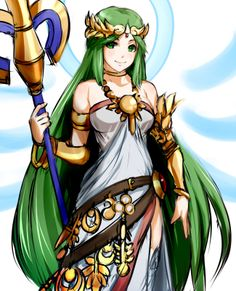 The goddess Palutena from Kid Icarus XD