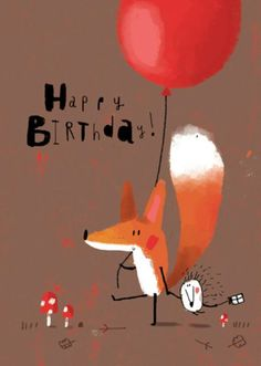 Greeting Cards This cute little illustration looks great and is very simple. I love when simple illustrations look great and effective as complicated illustrations tend to look busy and unclear. Fuchs Illustration, Children's Book Illustration, Happy Birthday Illustration, Happy Birthday Cards, Birthday Greetings, Birthday Sweets, Hapoy Birthday, Birthday Wishes, Art Fox
