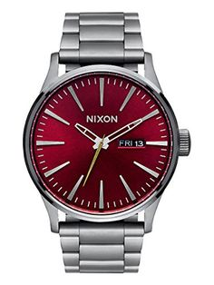 Men's Wrist Watches - Nixon Sentry SS Gunmetal  Deep Burgundy Stainless Steel Analog watch -- Be sure to check out this awesome product.