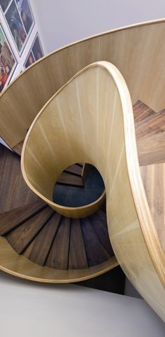 """Plywood Balustrade Staircase idea """"simple with finely worked plywood, where you see the figuring of the wood and the end-grain"""""""