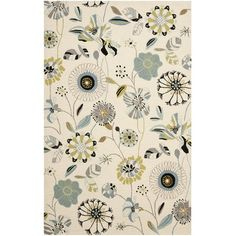 Safavieh Four Seasons X Area Rug In Ivory/blue - Inspired by textile arts around the globe, the Safavieh Four Seasons Rug features a floral motif that is full of subtle colors. Hand-hooked of enhanced polypropylene, this rug will look great in your home. Four Seasons, Floral Rug, Polyester Rugs, How To Clean Carpet, Safavieh, Suzani, Colorful Rugs, Dry Carpet Cleaning, Area Rugs