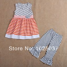 Find More Clothing Sets Information about Free Shipping Kids Girls Clothing Sets Stripe Top Dress With Ruffle Capris In Set  ,High Quality Clothing Sets from kaiya angel clothing factory on Aliexpress.com