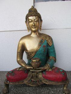 Brass Bronze Nepali Big Buddha Budh Tribal Design Sculpture Statue Figurine 0151 #GaneshHandicraftIndia