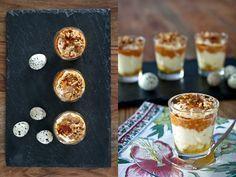 Vasitos de patata y sobrasada, con miel, cebolla crujiente y huevo de codorniz | Cosy & Chef