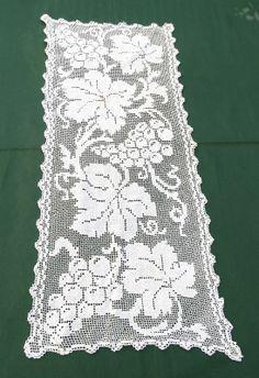 Vtg Handmade Filet Lace Doily Runner Grapes Dresser Scarf White Cotton 12x27 picclick.com