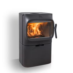 Jøtul F 105 B - Wood stoves - Products Into The Woods, Tv Storage, Wood Burner, Small House Design, Soapstone, White Enamel, Glass Door, Home Appliances, Cabin