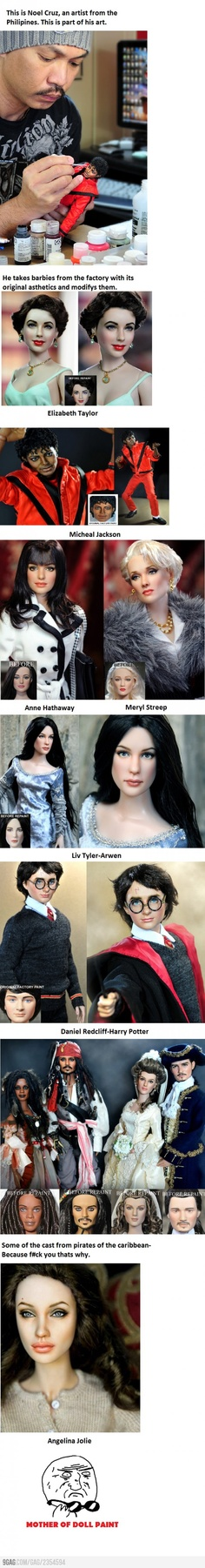 Epic Doll Art-I am not responsible for how the names are spelled.  I know its Radcliffe, I didn't make the pin.
