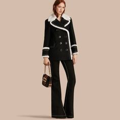 Shearling-trimmed Wool Cashmere Blend Pea Coat | Burberry