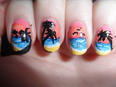 Sunset beach nails with palm trees