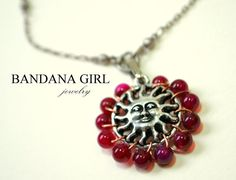 Beaded Fuschia Sun  Necklace by BandanaGirlJewelry on Etsy, $21.00