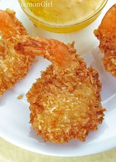 Coconut Shrimp with Orange Dipping Sauce. Gorgeous color and I can almost feel the crunch.