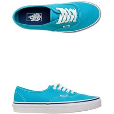 Vans Cyan Blue Authentic Shoe ($38) ❤ liked on Polyvore featuring shoes, sneakers, vans, sapatos, blue, laced sneakers, blue sneakers, low profile sneakers, laced shoes and low top