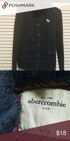 Abercrombie Kids button-up jacket Navy blue cowl neck button-up jacket.   EUC, no tears or stains, smoke-free home abercrombie kids Jackets & Coats