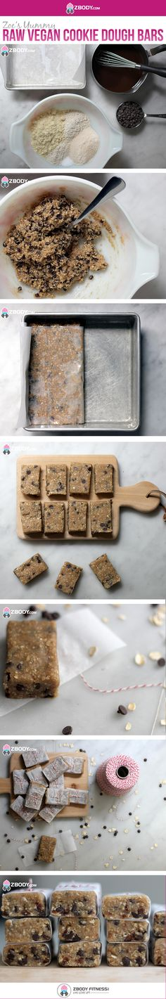 Zoe's Raw Vegan Cookie Dough Bars Cookie Dough Bars, Vegan Cookie Dough, Breakfast Recipes, Snack Recipes, Cooking Recipes, Vacation Snacks, Yummy Treats, Sweet Treats, Disney Planes