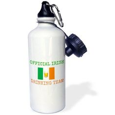 3dRose official Irish drinking team, green letters with Ireland flag and beer, Sports Water Bottle, 21oz, White