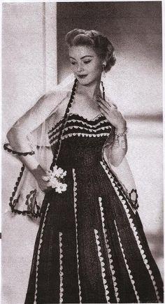 (4) Name: 'Crocheting : 1950's Scallop Trim Crochet Dress