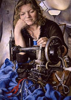 Woman With Sewing Machine, 2005 Michael Taylor/British 1952 by Michael Taylor-painter Contemporary Paintings, Art Painting, Fine Art, Figure Painting, Painting, Female Art, Art, Portrait Painting, Portrait Art