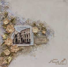 """""""Le Colisée"""" by Pascale B. Gorgeous LO..! Papers from MajaDesign's Monochromes - Shades of Sofiero and Vintage Spring Basics.    #layout #LO #lo #scrapbooking #scrapbook #scrapping #scrap #papercraft #papercrafting #papercrafts #majadesign #majadesignpaper #majapapers #inspiration #vintage"""