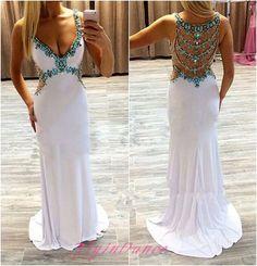 White Open Back Prom Dresses 2016 A-line V neckline Prom Dress With Blue Beading…