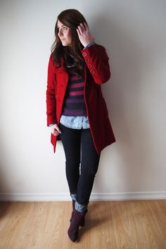 Closet Full Of Thrills: Casual Outfit Challenge (Denim + Purple + Red) - chambray shirt, purple striped top, purple booties, red coat, Jeans