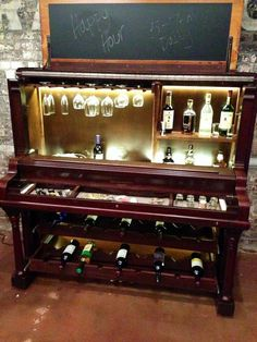 From the show Custom Built, a piano bar, made from an old upright piano. Piano Bar, The Piano, Piano Desk, Home Bar Furniture, Furniture Projects, Furniture Makeover, Cabinet Furniture, Cheap Furniture, Kitchen Furniture