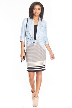 Max Studio Stacked Stripe Skirt from LE TOTE