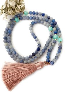 Mala Beads, Mala Necklace, Blue Aventurine and Jade Mala Necklace,Tassel Mala,Silk Tassel Necklace,Meditation Beads,108 Mala Beads,Mala,MBAT by VibeJewelryAnnaK on Etsy https://www.etsy.com/listing/478601897/mala-beads-mala-necklace-blue-aventurine