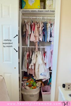 Today I'm sharing my nursery organization tips. Back when I was nesting preggo, I became obsessed with how the nursery would be laid out and organized. Yet, I found this task to be overwhelmingly…More Toddler Boy Outfits, Toddler Fashion, Kids Outfits, Kids Fashion, Baby Dress Online, Dresses Online, Nursery Closet Organization, Baby Jumpsuit, Organic Baby Clothes