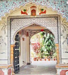 Main Entrance to the Palkiya Haveli, Kota city, Rajasthan, India