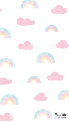 Rainbow and clouds pastel iPhone wallpaper
