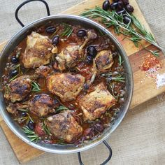 Roasted Chicken w Olives, Rosemary & Capers — Chef Mike Ward Easy Delicious Recipes, Real Food Recipes, Tasty, Yummy Food, Healthy Recipes, Chicken With Olives, Roasted Chicken, Healthy Cooking, Italian Recipes