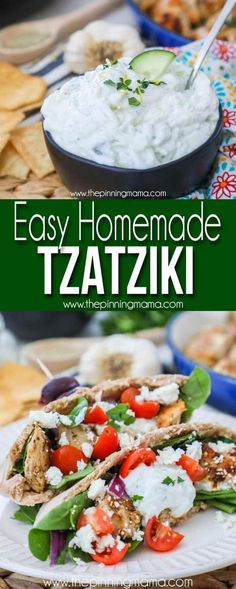 Easy Homemade Tzatziki sauce- Perfect for Greek dip or dishes - My list of simple and healthy recipes Chicken Gyro Recipe, Chicken Gyros, Sauce For Chicken, Gyro Sauce Recipe Easy, Homemade Taziki Sauce, Homemade Tzatziki, Mediterranean Dishes, Mediterranean Diet Recipes, Restaurants