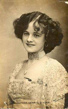 Miss Gertie Millar wearing dog collar choker style necklace