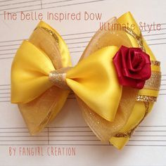 Etsy の The Belle Inspired Bow by FangirlCreation Diy Ribbon, Ribbon Crafts, Ribbon Bows, Ribbons, Girl Hair Bows, Girls Bows, Baby Bows, Baby Headbands, Disney Hair Bows
