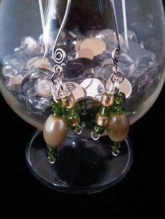 Handmade earrings silver green tan hooks by BySunshineDesign