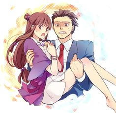 ~Ace Attorney Phoenix Wright and Maya | Aaaah, he looks so young and unsure of himself! <3
