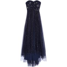 NOTTE BY MARCHESA Sequin Tulle Gown (€1.480) ❤ liked on Polyvore featuring dresses, gowns, long dress, sequin gown, sequin evening gowns, navy gown, long sequin dress and blue dress