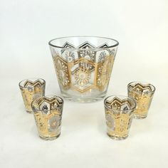 Shot Glasses and Ice Bucket Set, Vintage Bar Set, Mid Century Barware, Gold Barware, Retro Shot Glasses, Hollywood Regency Drinkware