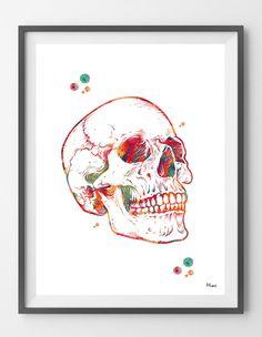 Human skull watercolor print anatomical skull poster by MimiPrints