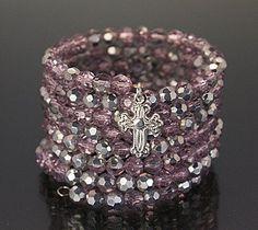 Fashion Glass Wrap Bracelet, with Brass Pendant