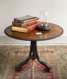 Exceptionnel Mahogany Tip Top Table With A Collection Of Antique Books Bell Jar  Displaying Italian Silver Plated Shells Atop A Beautifully Worn Persian Rug  From ...