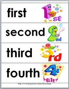Free Ordinal Words and Numbers Word Wall Cards, Matching Cards, and Self-Correcting Puzzles